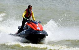 Female motorboat athlete Stock Images