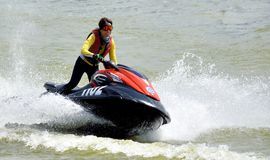 Female motorboat athlete Royalty Free Stock Images