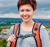 Female on a mountain Stock Photos