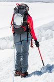 Female mountaineer ascending a glacier. Royalty Free Stock Photo