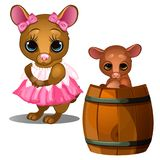Female mouse in pink dress and baby mouse bathing in wooden barrel Stock Photos