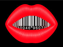 Female mouth with barcode Royalty Free Stock Image