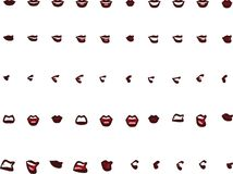 50 female mouth positions -brown lips Royalty Free Stock Photography