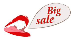 Female mouth with words big sale Stock Images