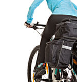 Female mtb cyclist  with saddlebag. Royalty Free Stock Photo