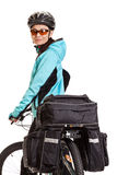 Female mtb cyclist with saddlebag, looking at the camera. Stock Image
