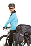 Female mtb cyclist  with saddlebag, looking at the camera and sm Stock Photography