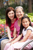 Female Multi Genenration Chinese Family Group. Sitting On Bench In Park Together Smiling Royalty Free Stock Image