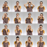 Female Multiple Portraits. Multiple portraits of the same woman making diferent expressions Royalty Free Stock Images