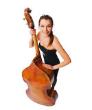 Female musician with her instrument Royalty Free Stock Photo