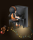 A female musician playing with the piano Stock Photo
