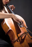 Female Musician Playing Violoncello Stock Photos