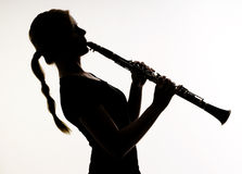 Female Musician Silhouette Woodwind Clarinet Stock Images