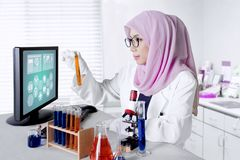 Muslim researcher with test tube in the lab Stock Photo