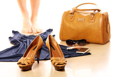 Female must haves. A set of female must haves including over white background Stock Images