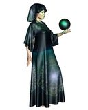 Female Mystic. In robes with arcane symbols holding a glowing cystal ball, 3d digitally rendered illustration Stock Images