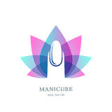 Female nail on purple lotus flower leaves background. Vector logo, label, emblem design element. Stock Image