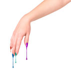 Female nails painted colored . Royalty Free Stock Photo