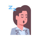 Female Napping Emotion Icon Isolated Avatar Woman Facial Expression Concept Face. Vector Illustration Royalty Free Stock Images