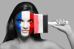 Female in national colors of France Royalty Free Stock Images