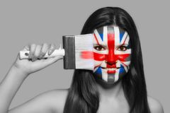 Female in national colors of Great Britain. Female supporter in national colors of Great Britain Royalty Free Stock Image