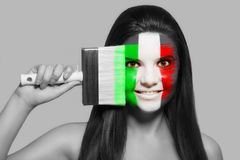Female in national colors of Italy Royalty Free Stock Photography