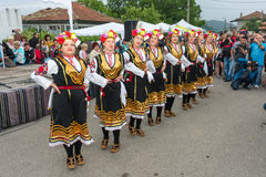 Female national dance at the Nestenar Games in the village of Bulgari, Bulgaria Stock Image