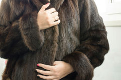 Female natural mink coat Stock Image