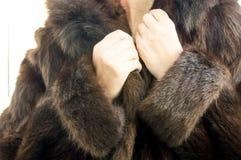 Female natural mink coat Stock Images