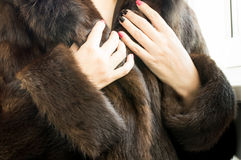 Female natural mink coat Royalty Free Stock Photos