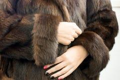 Female natural mink coat Stock Photo