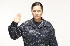 Female navy officer performing oath. Portrait of female navy officer performing oath Stock Photography