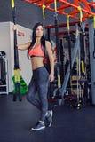 Female near trx straps stand. Slim sporty female posing near trx straps stand in a gym club Royalty Free Stock Photo
