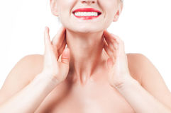 Female neck and shoulders. Beautiful woman with clean fresh skin stock photography