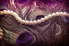 Female necklace from pearls on a background of peacock feathers Royalty Free Stock Image