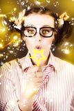 Female Nerd Blowing Bubbles Of Business Success Stock Photo