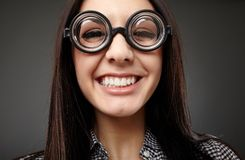Female nerd closeup Stock Photography