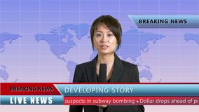Female news anchor in studio. Asian American female news anchor in studio with background scrolling map and lower thirds, TV news concept stock video footage