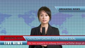 Female news anchor in studio stock video