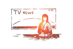 Female newscaster, journalist profession, professional female speaker, television show, mass media. Breaking news program, broadcasting studio concept sketch stock illustration