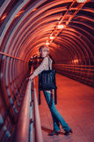 Female in night city Stock Photography