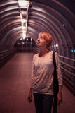 Female in night city Royalty Free Stock Photography