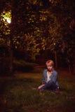 Female in night city Stock Photo
