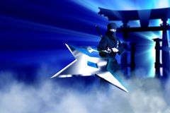 Female Ninja. Female Black Ninja throwing stars with blue smoke and light rays Stock Image