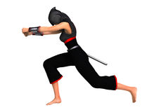 Female Ninja on White Stock Photography
