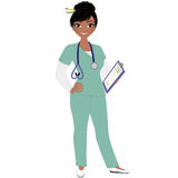 Female nurse. African american nurse holding clipboard royalty free illustration