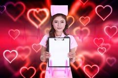 Female nurse with blank clipboard Stock Photos
