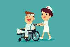Nurse pushing injured man on wheelchair. A female nurse help pushing injured man with cast and bandage on wheelchair Stock Images