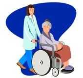 Female nurse helping caring for elderly woman. Vector flat illustration isolated on white. stock illustration