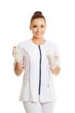 Female nurse holding a drip Stock Image